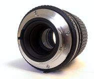 Camera Lens. The fitment of a camera lens looking through the optics Royalty Free Stock Photos