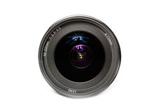 Camera Lens. Front close-up of a camera lens on white background stock image