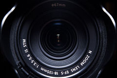 Camera lens. Front side of the camera lens stock photo