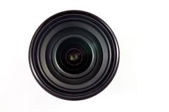 Camera Lens. Front view of camera lens isolated on white background Stock Photos