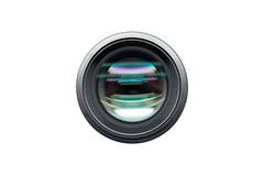 Camera lens front view shot isolated. On white background stock photography