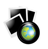 Camera lens with globe and photos. Isolated Stock Photography