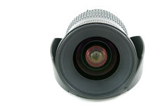 Camera lens and hood white isolate. Camera lens and hood on isolate Royalty Free Stock Photography