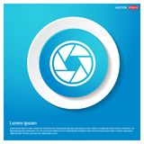 Camera Lens Icon Abstract Blue Web Sticker Button. Free vector icon - This Vector EPS 10 illustration is best for print media, web design, application design royalty free illustration