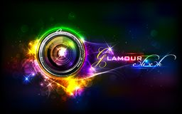 Camera Lens. Illustration of camera lens in glamour background Stock Photography