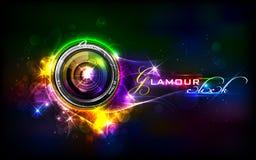 Camera Lens. Illustration of camera lens in glamour background stock illustration