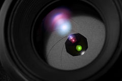 Camera lens iris close up Stock Photography