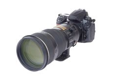 Camera and Lens (isolated) Stock Image