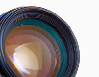 Camera lens, isolated on white background. Royalty Free Stock Photos