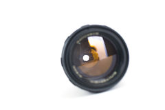 Camera lens isolated on white background. Close up Royalty Free Stock Image