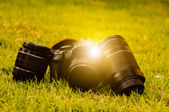 Camera with lens. Lay light Royalty Free Stock Photos