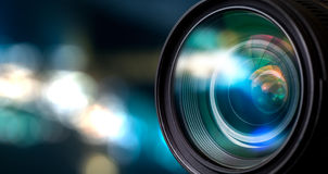 Camera lens. With lense reflections stock images