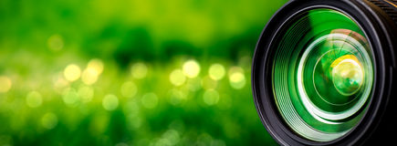 Camera lens. With lense reflections royalty free stock images