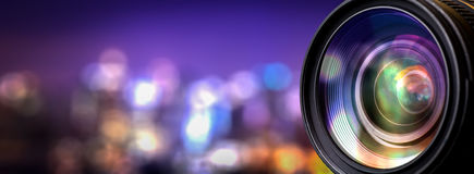Camera lens. With lense reflections royalty free stock photo