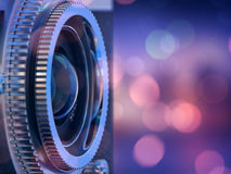 Camera lens with lense reflections. Close up photo of old camera lens . image is retro filtered. selective focus. 3d render Stock Photo