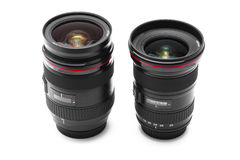 Camera lens lenses. Professional DSLR camera lens / lenses on white background Stock Photography