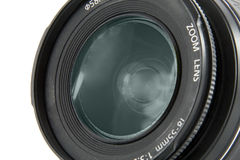 Camera lens macro shooting. Isolated on white background Royalty Free Stock Photography