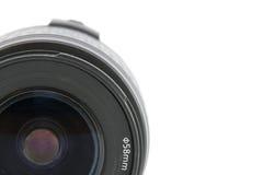 Camera lens macro shooting. Isolated on white background Stock Photo