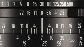 Camera lens markings. Close up of  camera lens markings Stock Photo