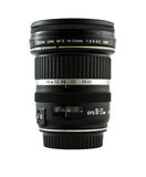 Camera lens 10-22. Mm. on white background stock images