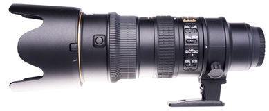 Camera lens over white Stock Photo