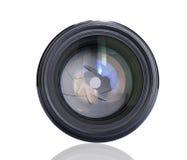 Camera lens. Camera photo lens with shutter Stock Photo