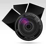 Camera Lens with Photograph Stock Photo