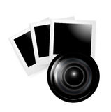 Camera lens with photos isolated. On white Royalty Free Stock Image