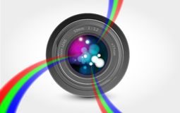 Camera lens rainbow light Royalty Free Stock Photos