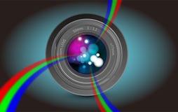 Camera lens rainbow light Stock Photo