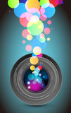 Camera lens rainbow light. Camera lens and colorful rainbow light Royalty Free Stock Images