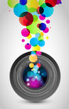 Camera lens rainbow light Stock Image