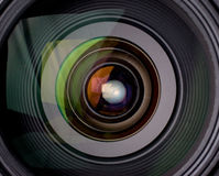 Camera lens with reflection Stock Photography