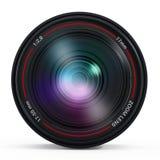 Camera lens with reflection. Isolated on white background Stock Image