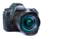 Camera lens with lens reflections modern ultra zoom photo camera front view. royalty free stock photos