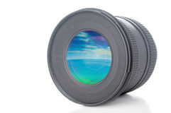 Camera lens with sea and blue sky picture Stock Photo