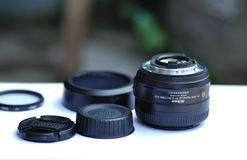 Camera Lens Set on Table Royalty Free Stock Photos