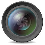 Camera lens with shutter. Vector illustration of photocamera lens with shutter Royalty Free Stock Photos