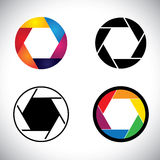 Camera lens shutter aperture abstract icons - vector graphic. This illustration also represents slr camera, point & shoot camera, camera focus, etc Royalty Free Stock Photo