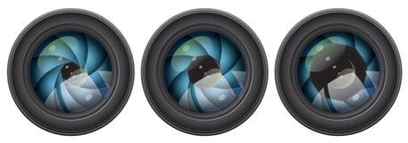 Camera lens with shutter apertures Stock Photos