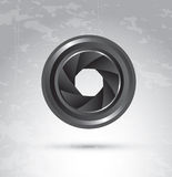 Camera lens. Shutter camera lens over degrade color background Stock Image