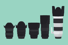 Camera lens slr collection with flat style Stock Photography