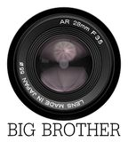Lens camera big brother is here. A camera lens with the text big brother, referring to George Orwell`s novel, 1984 Royalty Free Stock Photography