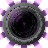 Camera lens with violet flare Royalty Free Stock Images