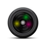 Camera Lens on white background. Front of camera lens on white background. Vector illustration Stock Images
