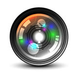 Camera Lens on white background. Front of camera lens on white background. Vector illustration Royalty Free Stock Photos