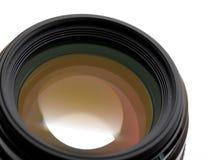 Camera lense over. White background Stock Photos