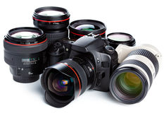 Camera and lenses Royalty Free Stock Photography