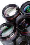 Camera lenses. A set of black camera lenses Stock Photography