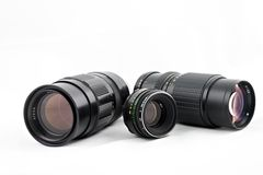 Camera Lenses. For SLR or DSLR Royalty Free Stock Photo
